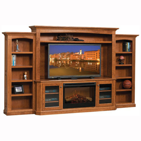 Buckingham Entertainment Center With Fireplace Home Wood Furniture