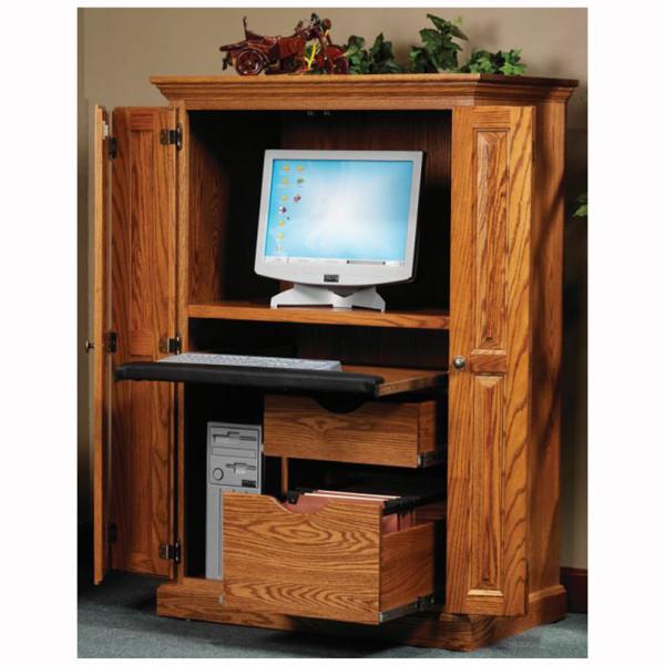 Computer Armoire Spice Wood Ebony