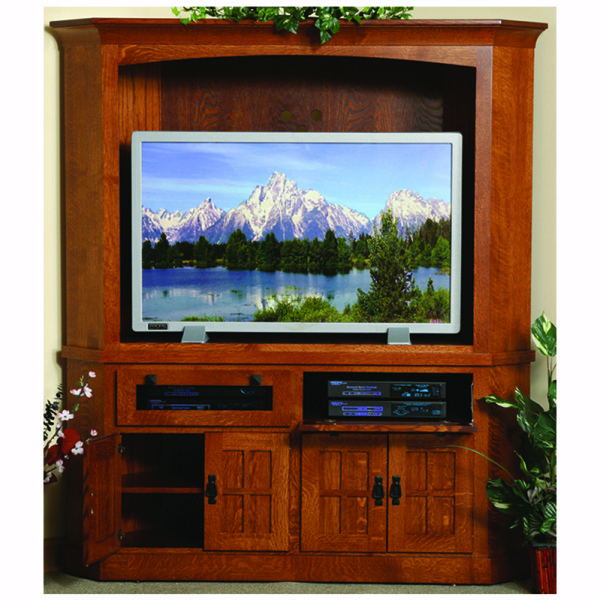 Corner Entertainment Center Mission Home Wood Furniture