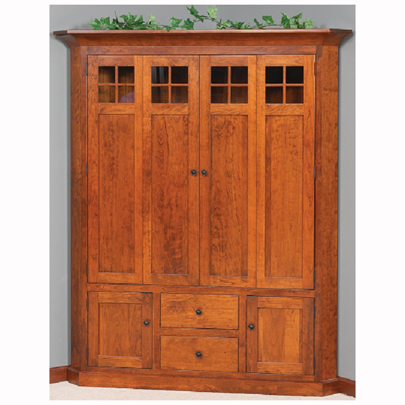 Deluxe Mission Corner Entertainment Center Home Wood Furniture