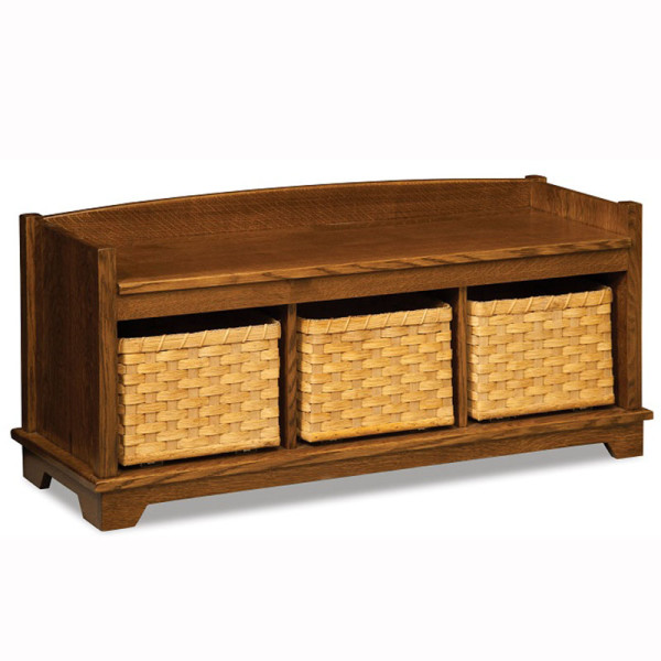 Lattice Weave Bench With Baskets Home Wood Furniture