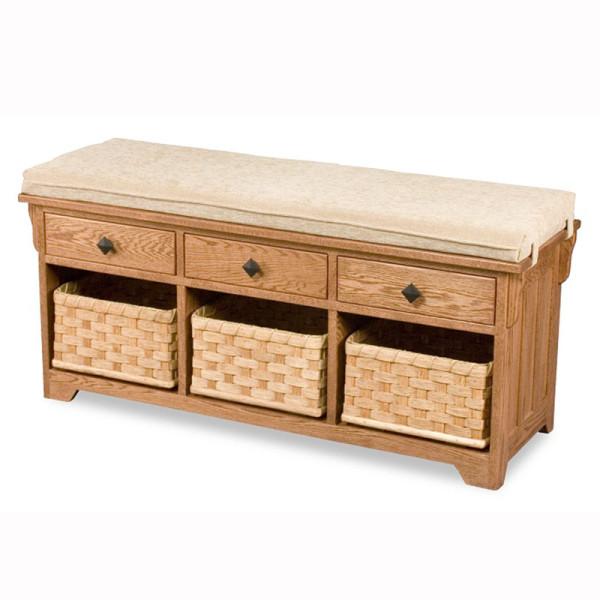 Lattice Weave Drawer Bench Baskets Cushion