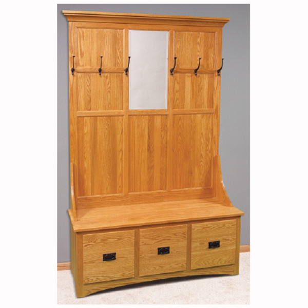 Mission 3 Drawer Hall Seat