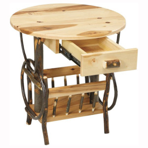 Rustic Round Magazine End Table