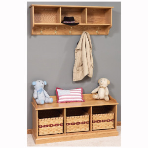 Traditional Bench Baskets Shelf Storage